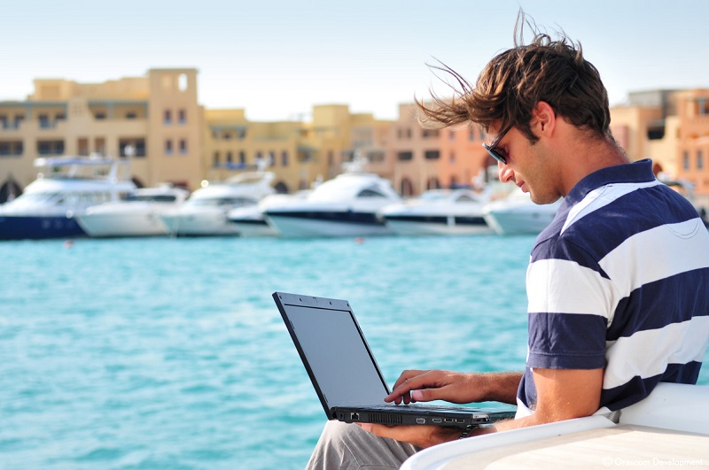 Working in El Gouna by the sea