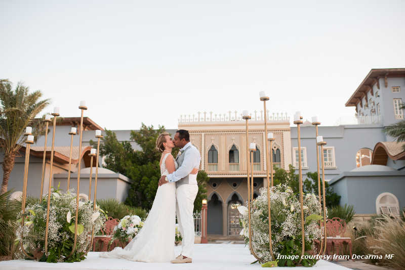 A bride and a groom in their special day at the best wedding venue in El Gouna La Maison Bleue Hotel