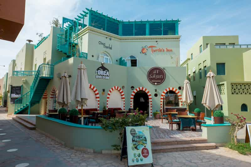 Turtle's Inn El Gouna Hotel Façade and overview of at Sokrat's restaurant