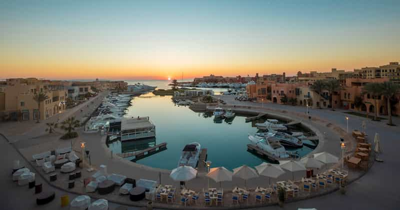 A view for Abu Tig Marina with its luxury yachts and Red Sea during sunset