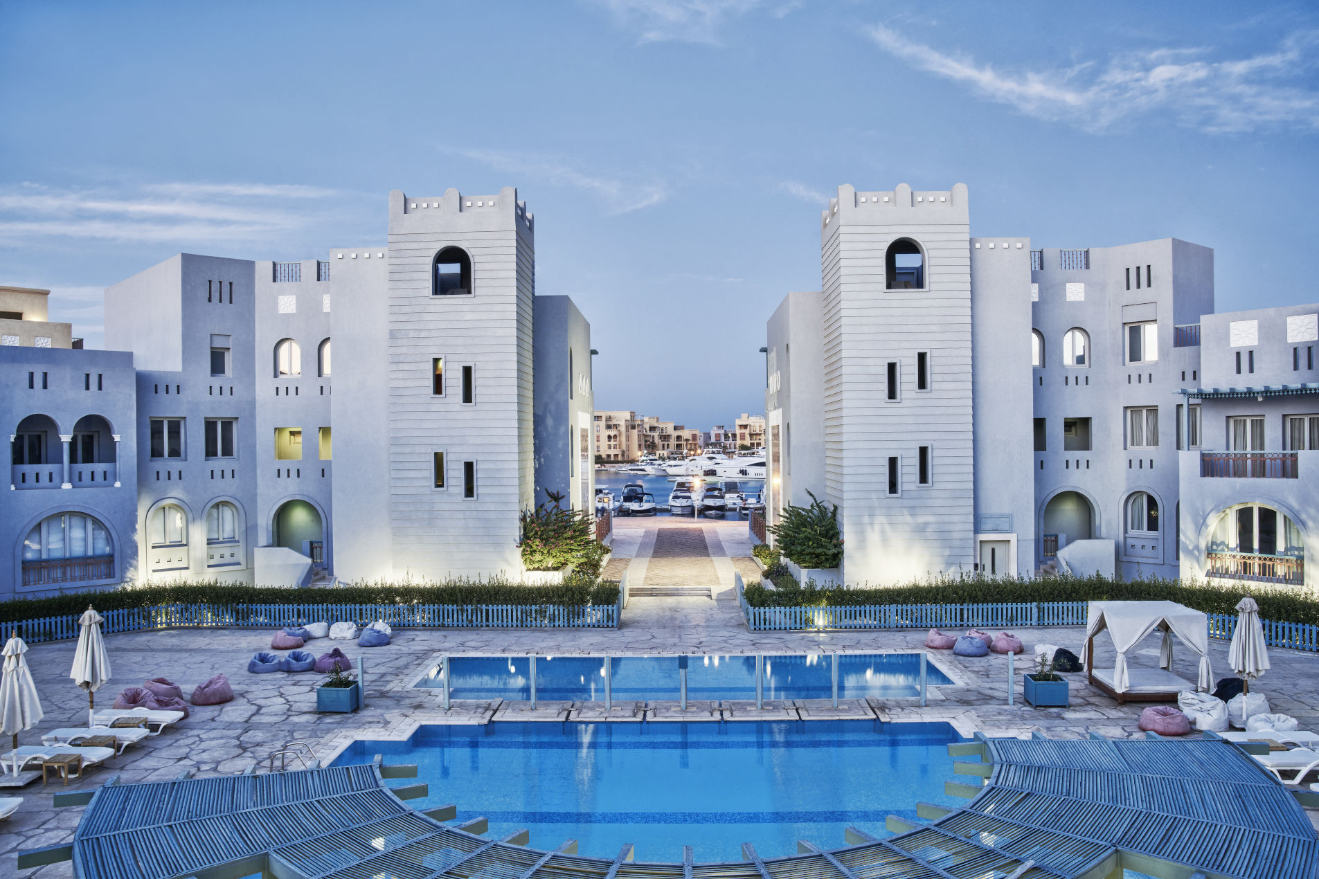 Fanadir Hotel El Gouna pool and facilities Overview