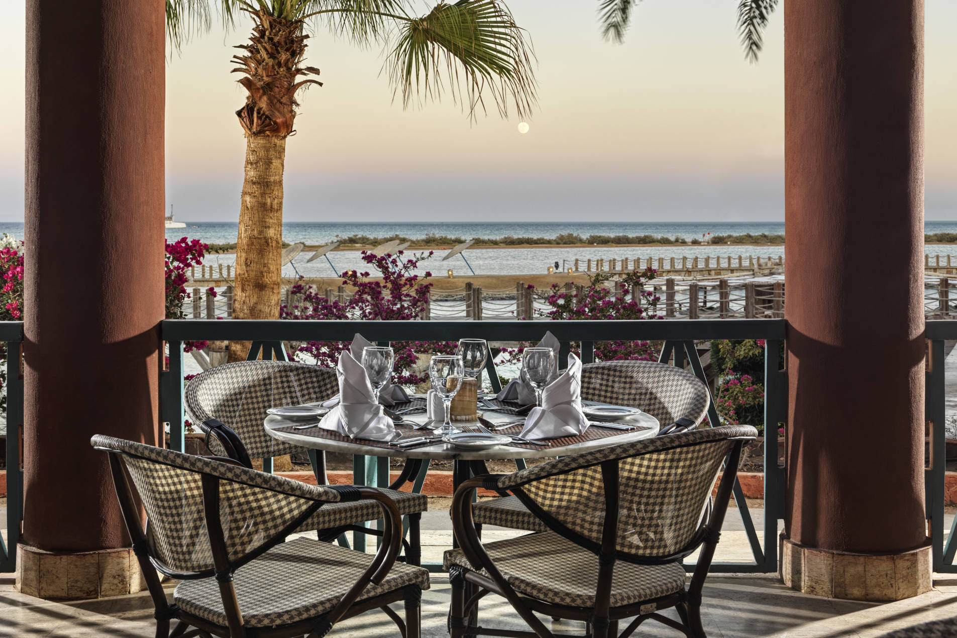 The outside dining area of the main restaurant of Sheraton Miramar hotel in El Gouna with breathtaking view of Red Sea waters