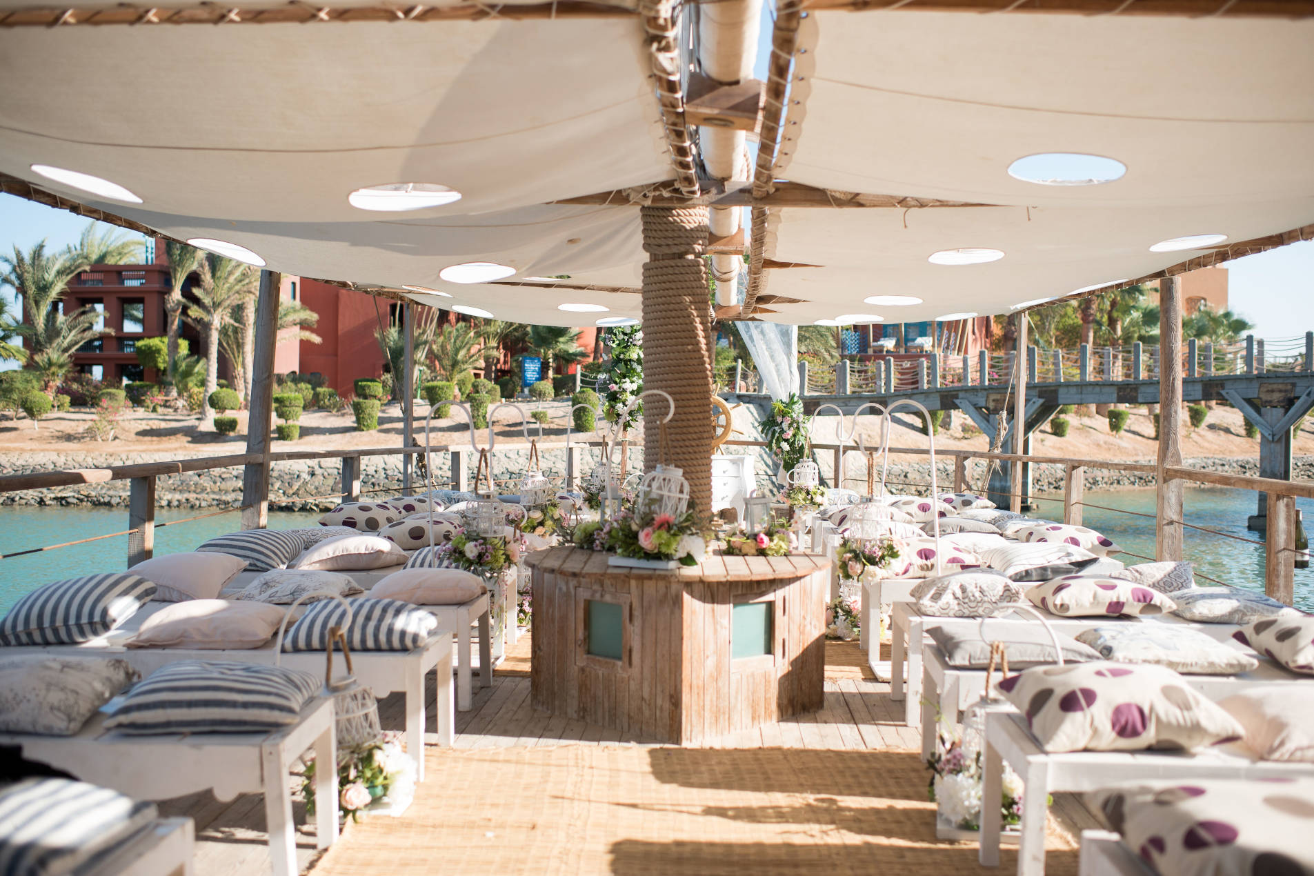 Wedding Decorations in Sheraton Miramar Resort El Gouna wine boat surrounded by lagoon waters of Red Sea