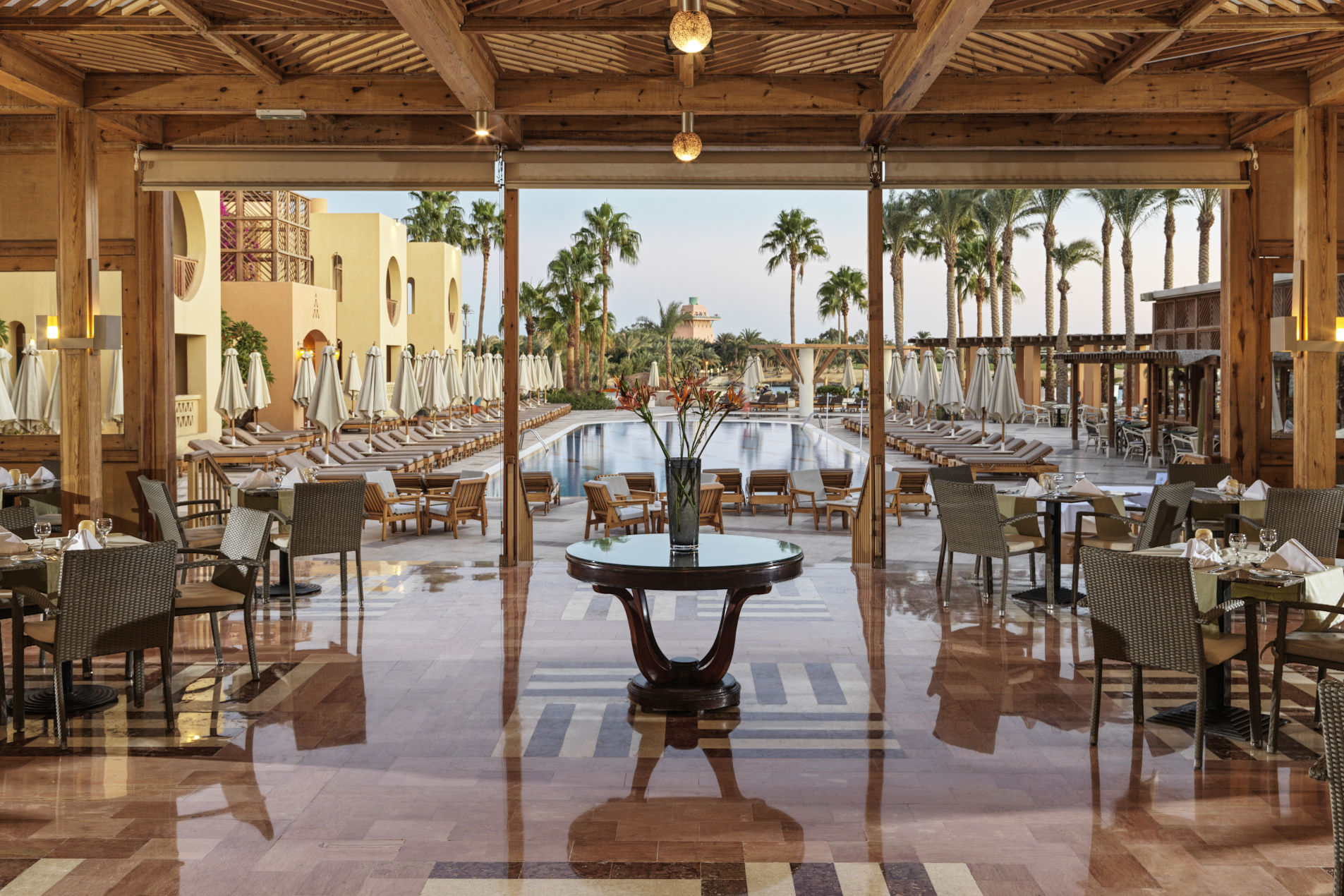 Fairways Restaurant of Steigenberger Golf Resort El Gouna, overlooking the hotel pool and scenic lagoon