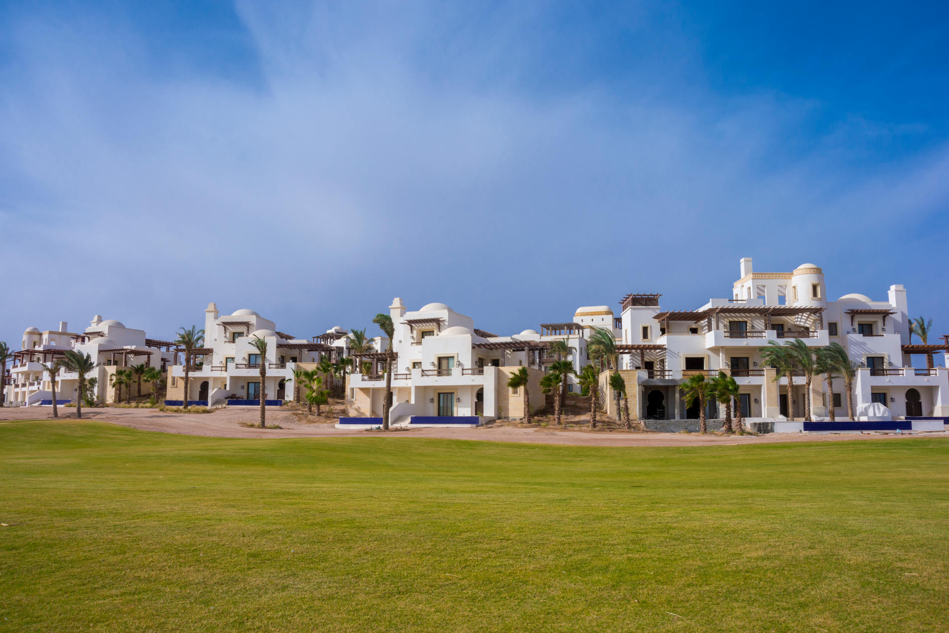 overview of ancient sands five starts hotel in el gouna building from the golf court