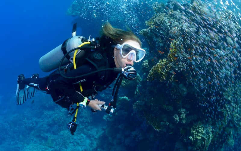 A diver deep down in El Gouna Red Sea with colorful fishes and coral reefs
