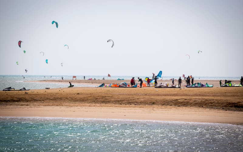 Kitesurfers having fun time in El Gouna Red Sea beaches with blue clear waters