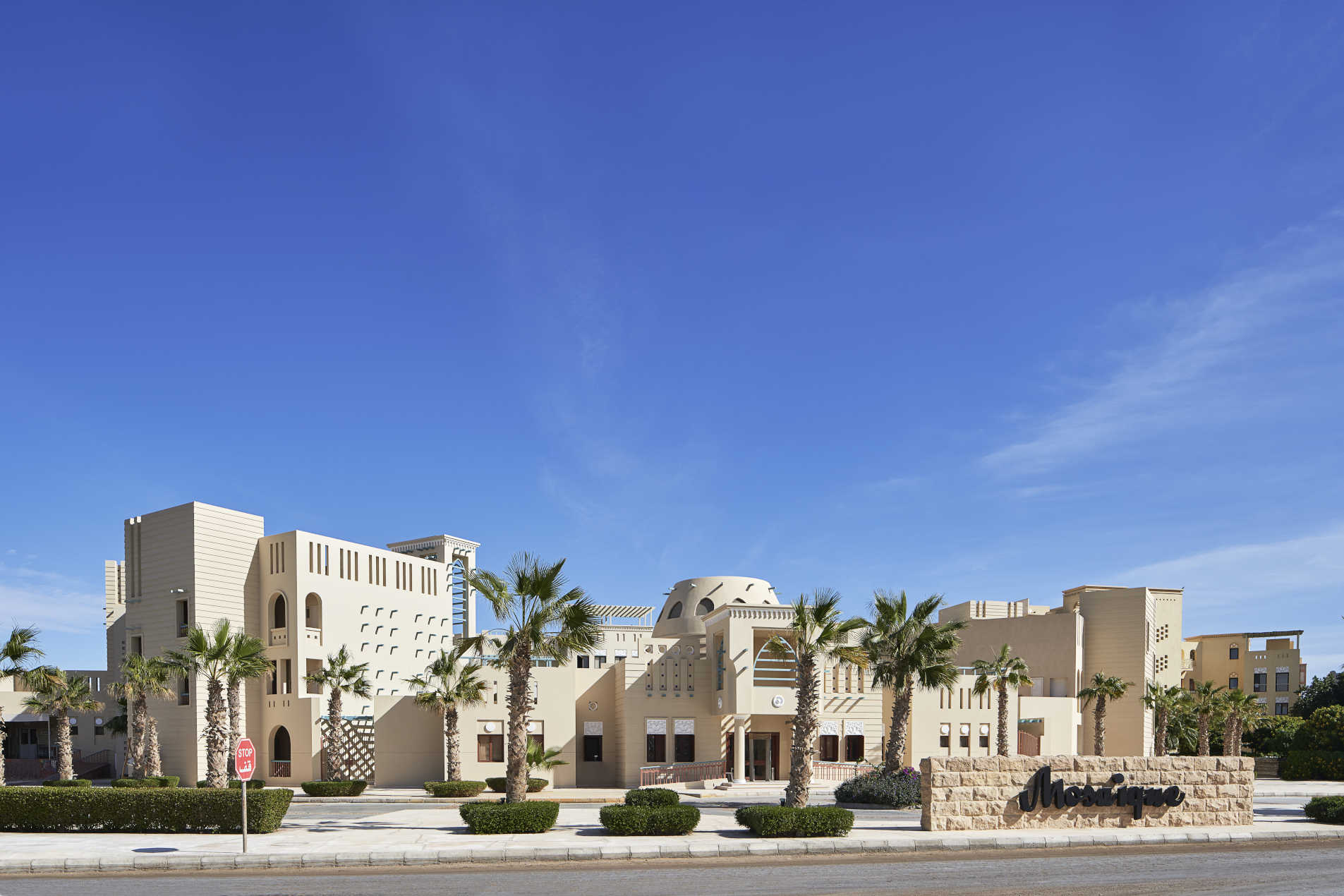 The façade of Mosaique hotel in El Gouna with arabesque moroccan design