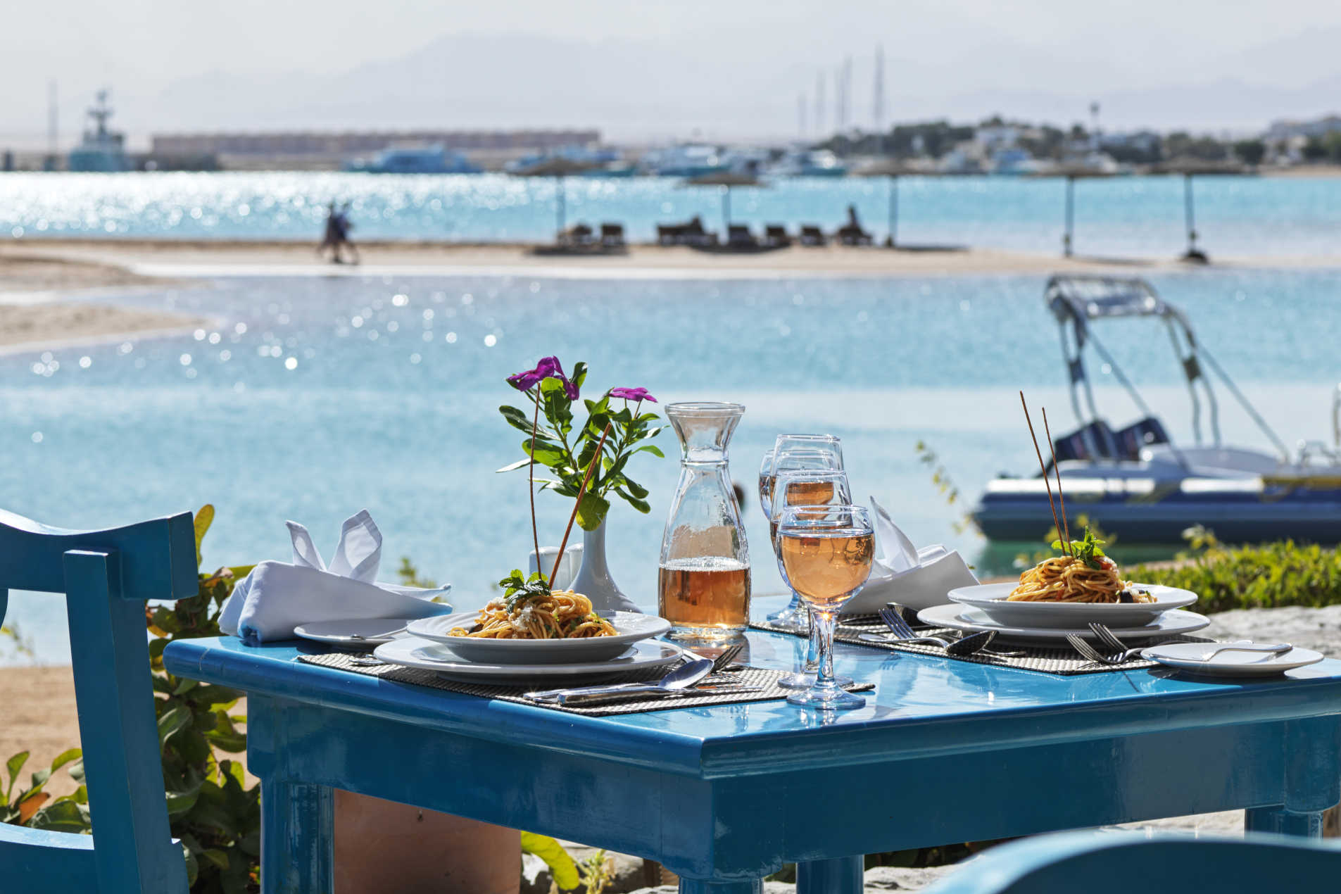 Dinning with Red Sea view in El Gouna Labranda Club Paradisio Hotel while enjoying the fresh breeze at Morgan's Restaurant