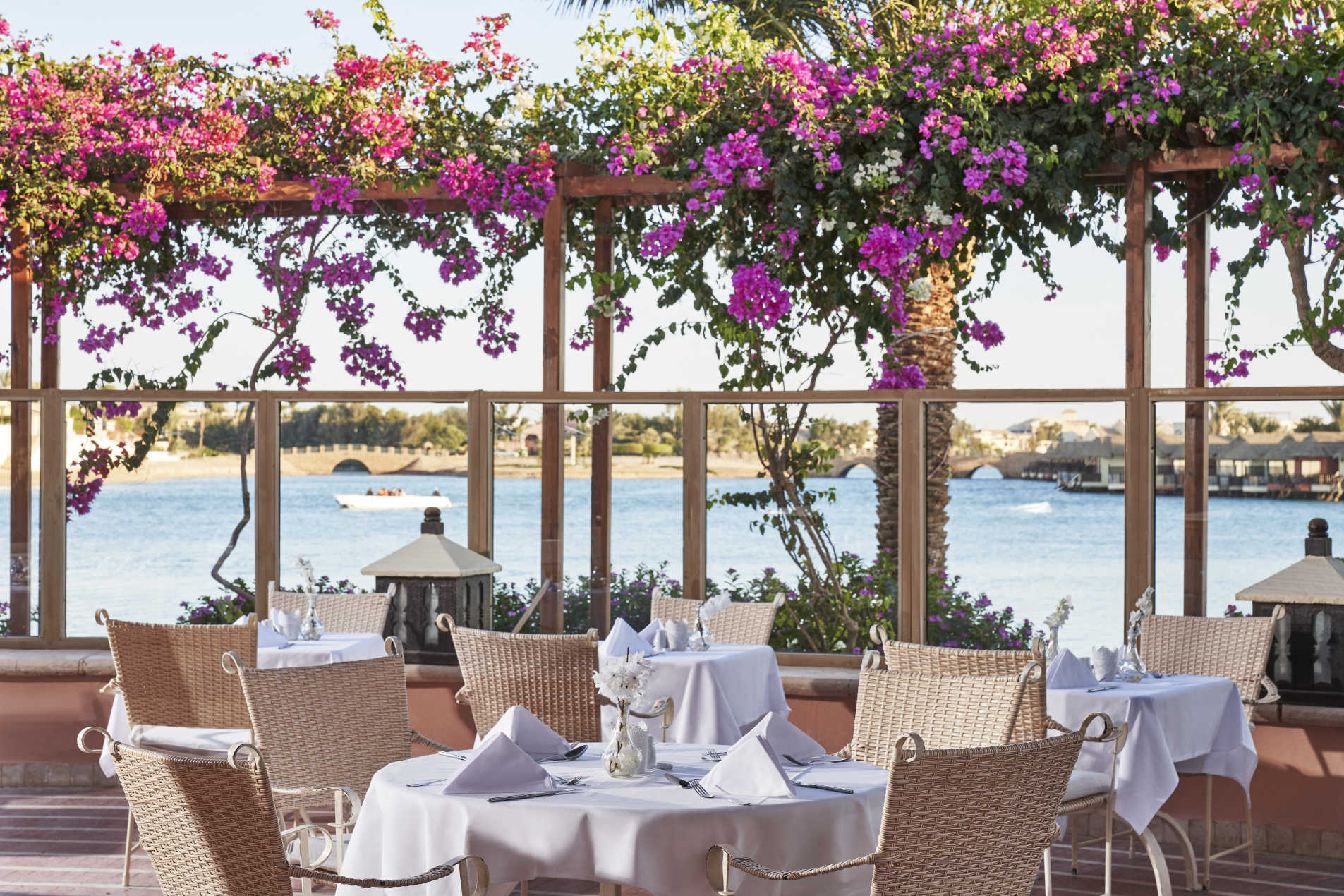 sultan bey hotel el gouna main restaurant at daylight with a view of the lagoon