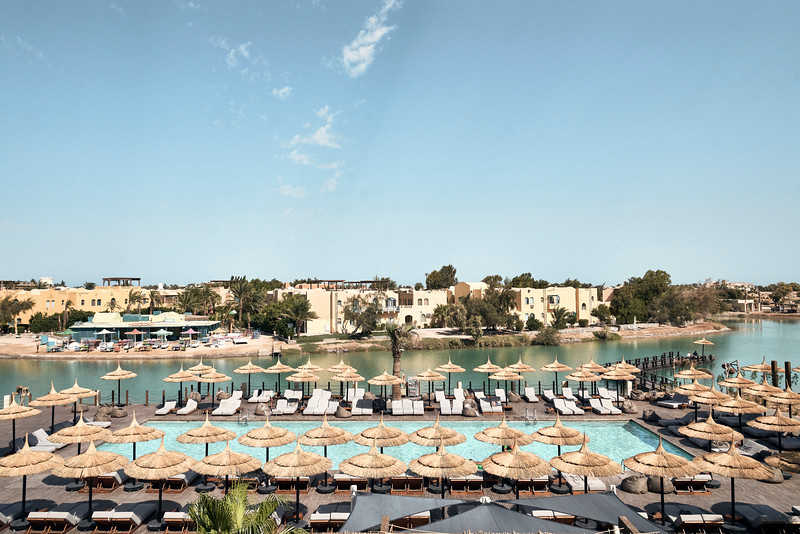 A top view of pool that overlooking Red Sea lagoons in Cook's Club El Gouna Hotel