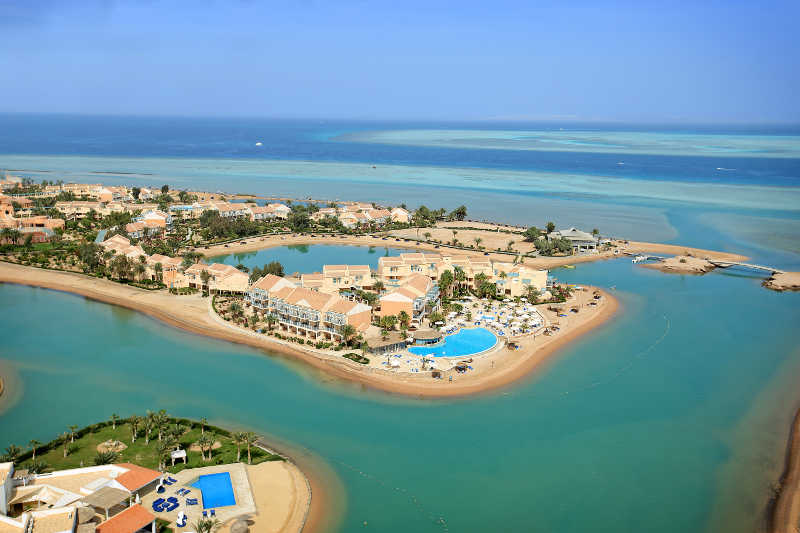 Mövenpick Resort & Spa overview surrounded with Red Sea in El Gouna