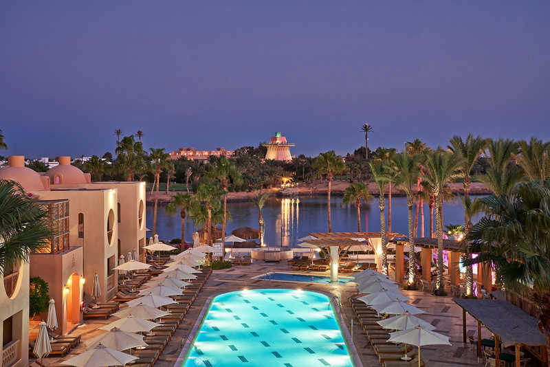 The night view of Steigenberger resort pool with the lagoons of Red Sea in El Gouna