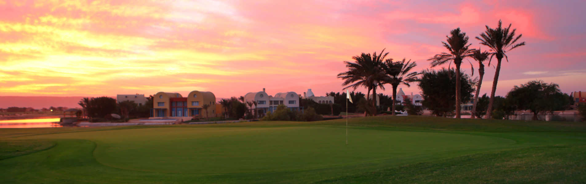 golf field on sunset at steigenberger golf resort el gouna