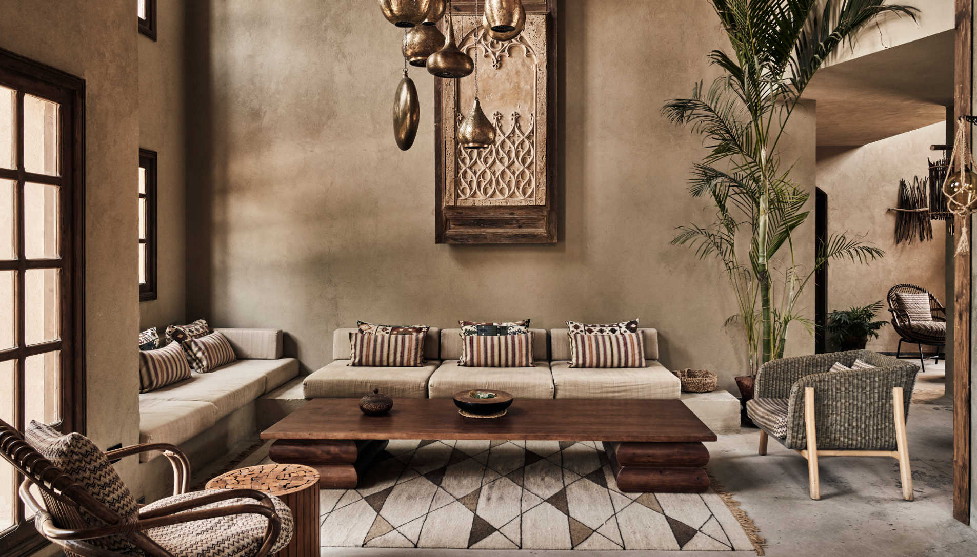 The interior of lobby at Cook's Club Hotel in El Gouna in a boho style