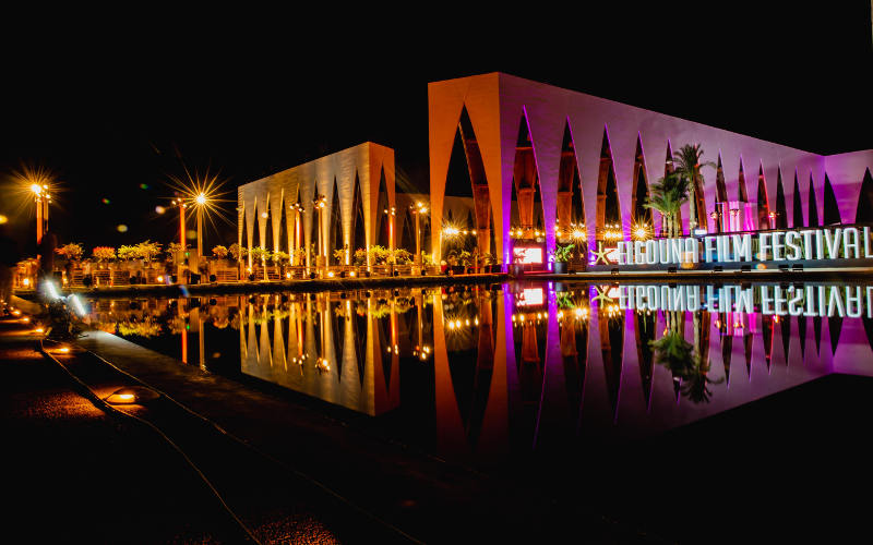 night color spotlights over Gouna conference center