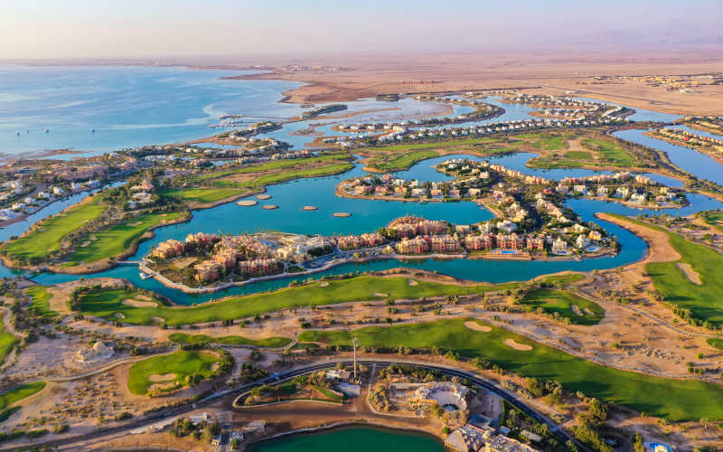 overview of El Gouna lagoons and red sea