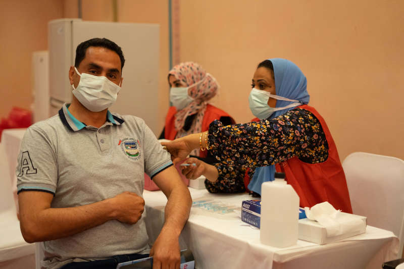 one of el gouna hotels staff getting vaccinated